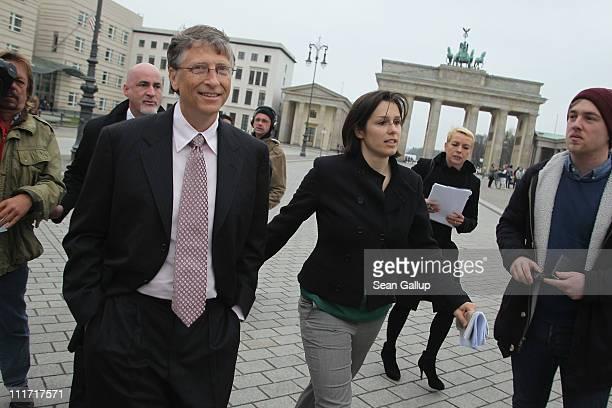 Bill Gates founder of Microsoft and now philanthropist walks on Pariser Platz square during a brief stop at Brandenburg Gate on April 6 2011 in...