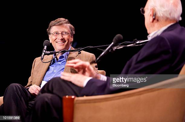 Bill Gates, founder of Microsoft Corp., left, talks with his father Bill Gates Sr., during an event at the 92nd Street Y in New York, U.S., on...