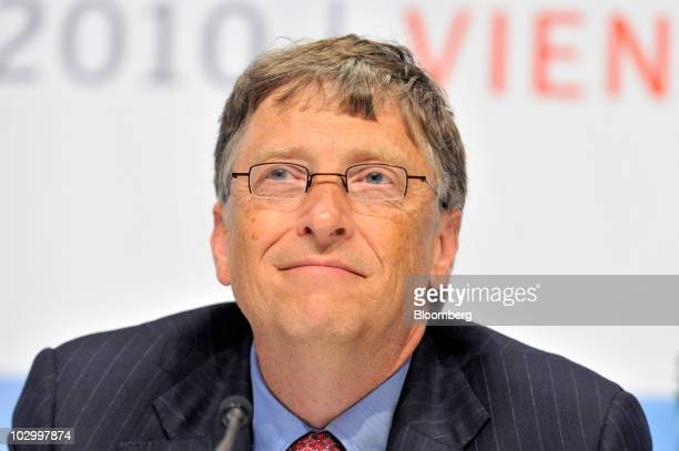 Bill Gates founder of Microsoft Corp pauses during the XVIII International AIDS Conference in Vienna Austria on Monday July 19 2010 Merck Co Abbott...