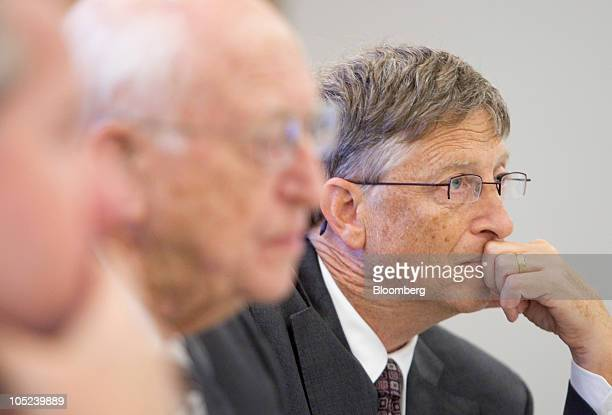 Bill Gates, founder of Microsoft Inc. And co-founder of the Bill and Melinda Gates Foundation, right, Bill Gates Sr., father of Bill Gates, center,...