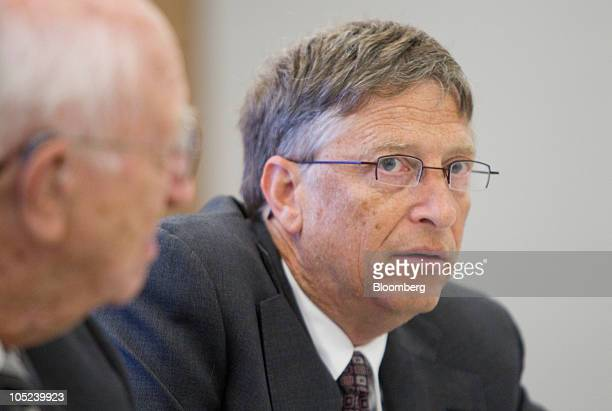 Bill Gates, founder of Microsoft Inc. And co-founder of the Bill and Melinda Gates Foundation, speaks during an interview with his father Bill Gates...