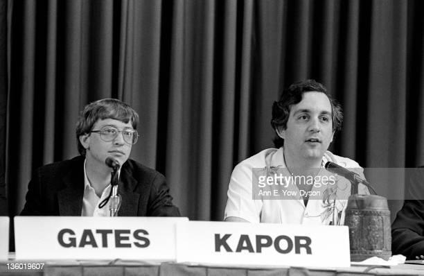 Bill Gates from Microsoft and Mitch Kapor from Lotus/Kapor Enterprises at the annual PC Forum Phoenix Arizona February 1619 1986