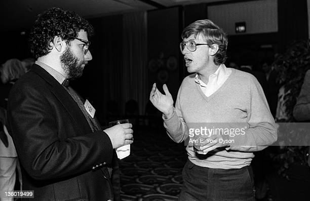 Bill Gates from Microsoft speaks with Jonathan Lazarus from Ziff Davis Publishing/Kiha Software at the annual PC Forum Phoenix Arizona early 1985