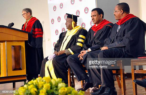 Bill Gates makes his speech after receiving an Honorary Doctoral Degree from Ethiopian Prime Minister Hailemariam Desalegn by the Addis Ababa...