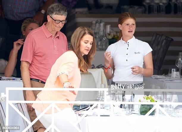 Bill Gates Melinda Gates and Jennifer Gates attend Global Champions Tour of Monaco 2017 on June 23 2017 in MonteCarlo Monaco