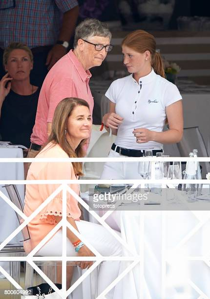 Bill Gates Melinda Gates and Jennifer Gates attend Global Champions Tour of Monaco 2017 on June 23 2017 in MonteCarlo Monaco