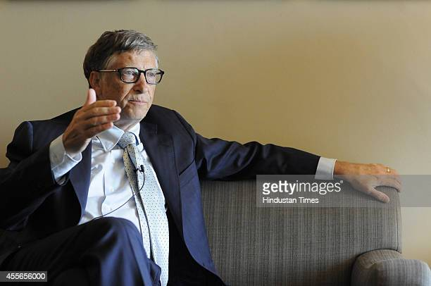 Bill Gates Microsoft founder and Chair of the Bill and Melinda Gates Foundation during an interview on September 18 2014 in New Delhi India Microsoft...