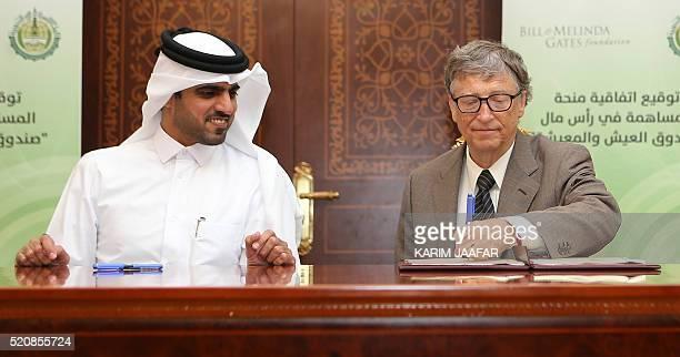 Bill Gates Microsoft founder and cochairman of the Bill and Melinda Gates Foundation and Khalifa bin Jassim alKuwari the Director General of the...