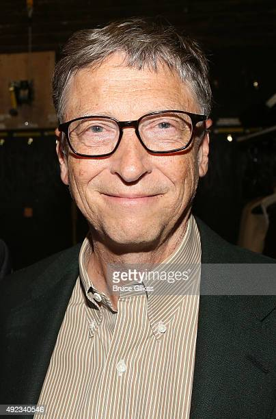 Bill Gates poses backstage at the hit musical 'Hamilton' on Broadway at The Richard Rogers Theater on October 11 2015 in New York City
