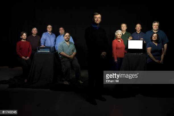 Bill Gates poses with the members of the original Microsoft team at a portrait session in Seattle, WA. From L-R. Andrea Lewis, Bob O'Rear, Paul...