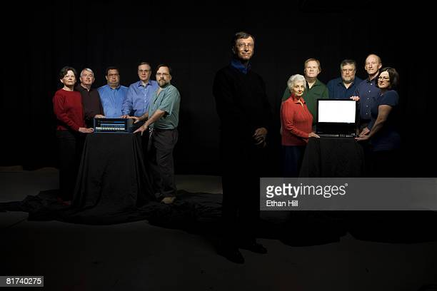 Bill Gates poses with the members of the original Microsoft team at a portrait session in Seattle, WA. From L-R. Andrea Lewis, Bob O'Rear, Bob...