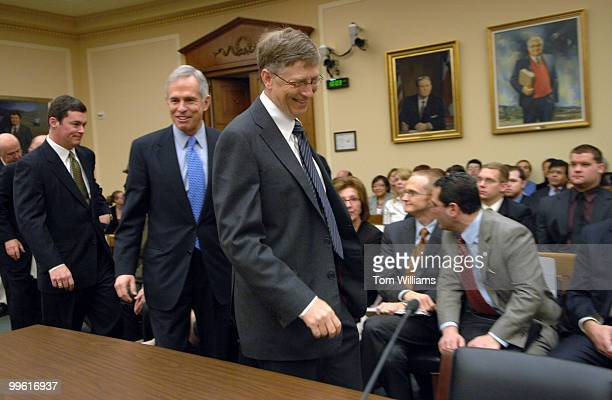 Bill Gates right chairman of Microsoft arrives at a House Science Technology Committee hearing with chairman of the Committee Bart Gordon DTenn