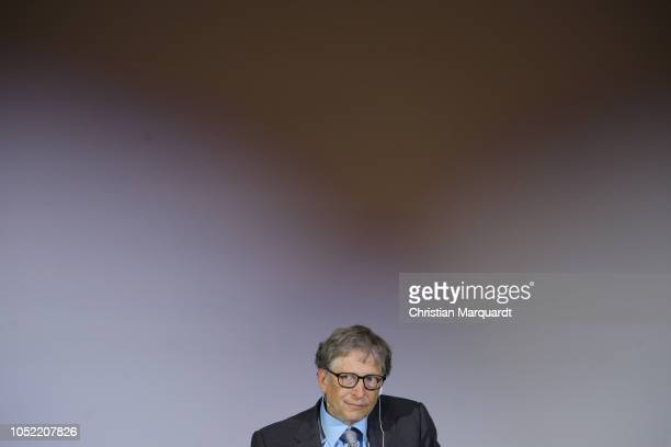 Bill Gates seated onstage at Innovation potential in Africa Event at Technical University of Berlin on October 15 2018 in Berlin Germany Under the...