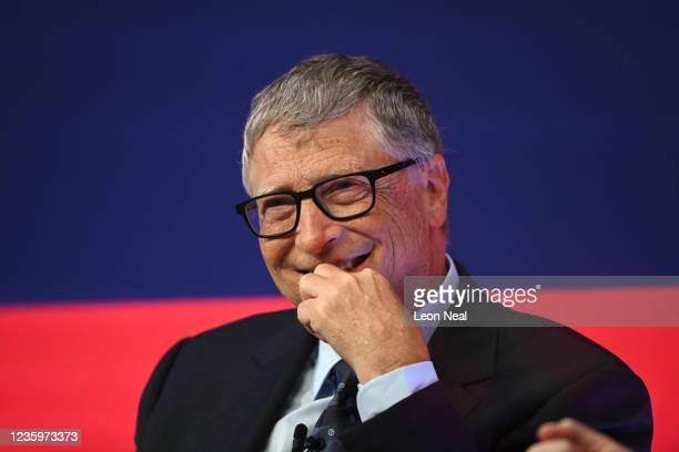 Bill Gates speaks during the Global Investment Summit at the Science Museum on October 19, 2021 in London, England. The summit brought together...