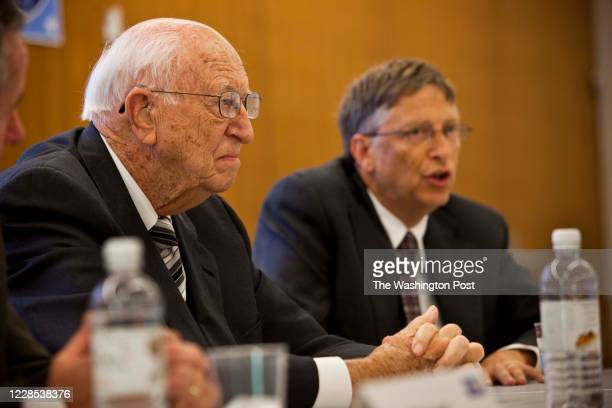Bill Gates Sr and son attend the ceremony at which the United Way Headquarters was named in his wife and mother's honor in Alexandria , VA on Oct....