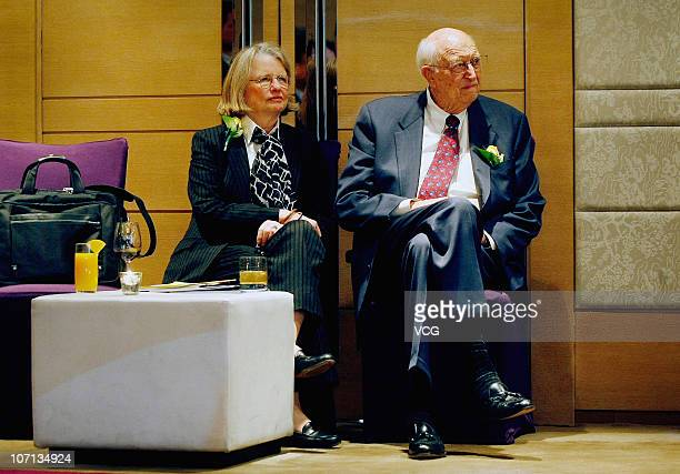 Bill Gates Sr., father of Microsoft Inc. Founder Bill Gates, and wife Mimi attend a press conference at the China Alumni Association of the...