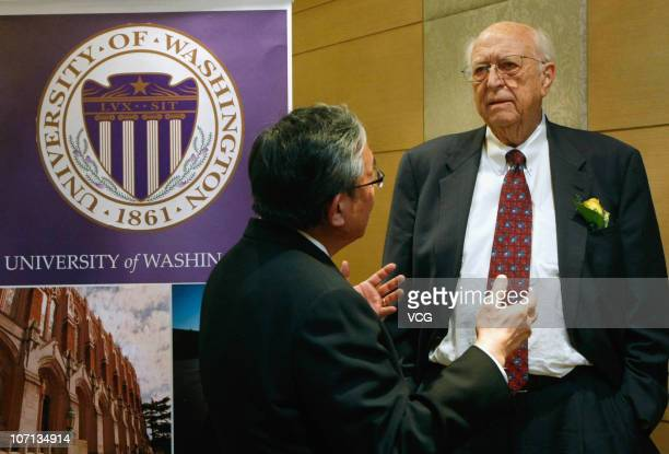 Bill Gates Sr., father of Microsoft Inc. Founder Bill Gates, attends a press conference at the China Alumni Association of the University of...