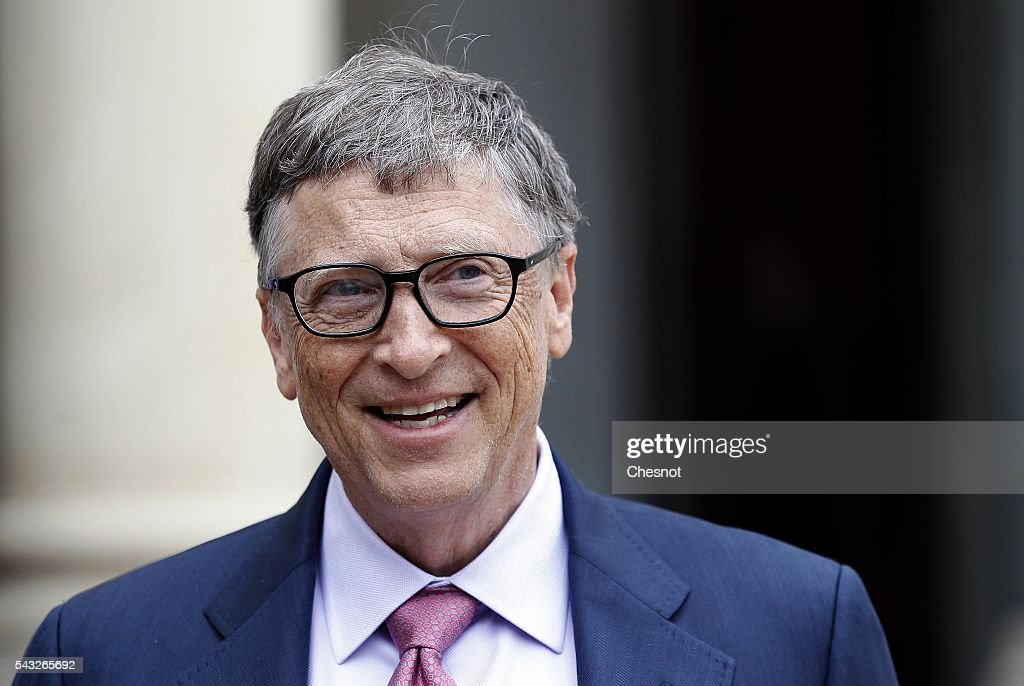 French President Receives Bill Gates at ELysee Palace in Paris