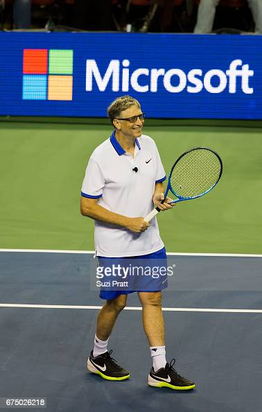 Bill Gates warms up at the Match For Africa 4 exhibition