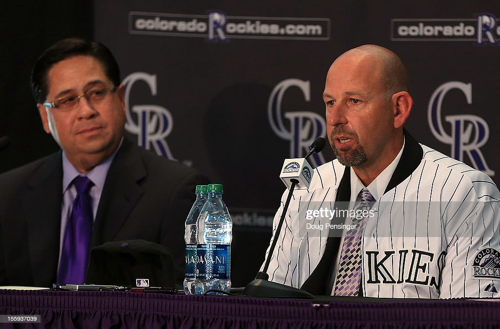 Bill Geivett Senior Vice President of Scouting and Player Developement/Assistant General Manager of the Colorado Rockies presents Walt Weiss as manager of the Rockies during a press conference at Coors Field on November 9, 2012 in Denver, Colorado.