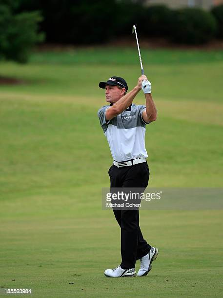 Bill Glasson hits a shot during the final round of the SAS Championship held at Prestonwood Country Club on October 13 2013 in Cary North Carolina