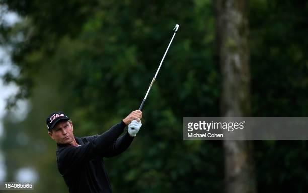 Bill Glasson hits a shot during the first round of the SAS Championship held at Prestonwood Country Club on October 11 2013 in Cary North Carolina