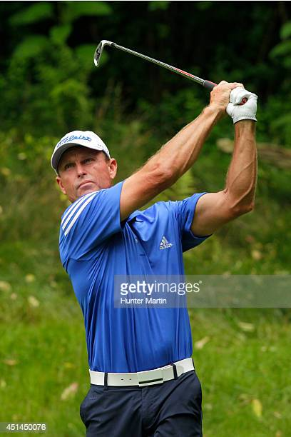 Bill Glasson hits his tee shot on the third hole during the final round of the Constellation Senior Players Championship at Fox Chapel Golf Club on...
