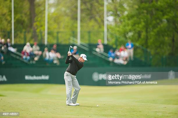 Bill Glasson of the United States hits a shot on the 18th hole during the first round for the 75th Senior PGA Championship presented by KitchenAid...