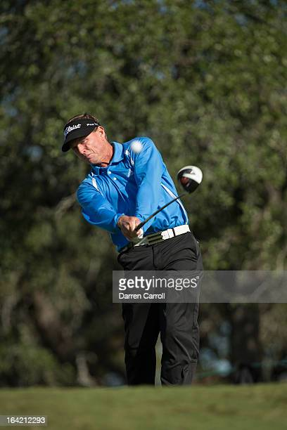 Bill Glasson plays a tee shot at the 18th hole during the final round of the 2012 ATT Championship at the Canyons Course at TPC San Antonio on...