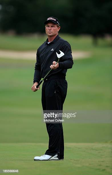 Bill Glasson reacts to a birdie putt during the first round of the SAS Championship held at Prestonwood Country Club on October 11 2013 in Cary North...