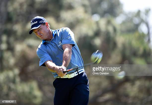 Bill Glasson tees off on the second hole during the second round of the Champions Tour Toshiba Classic at Newport Beach Country Club on March 15 2014...