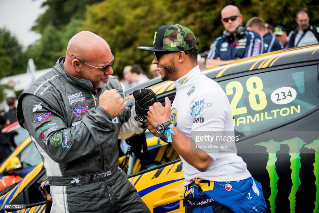 Bill Goldberg and Nicholas Hamilton attend the Goodwood Festival Of Speed at Goodwood on July 12, 2018 in Chichester, England.