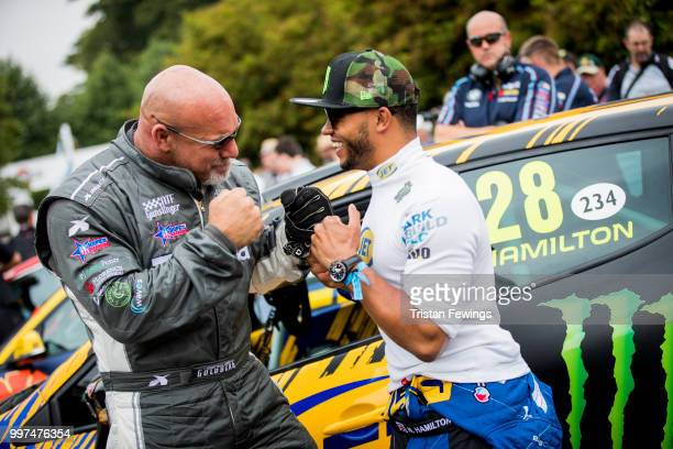 Bill Goldberg and Nicholas Hamilton attend the Goodwood Festival Of Speed at Goodwood on July 12 2018 in Chichester England