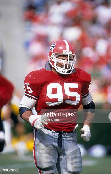 Bill Goldberg of the Georgia Bulldogs runs on the field during a game circa 1988 at Sanford Stadium in Athens Georgia