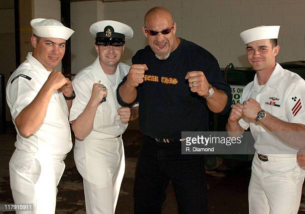 Bill Goldberg with Naval servicemen during Bill Goldberg Promotes 'The Longest Yard' in Atlanta at Turner Field in Atlanta Georgia United States