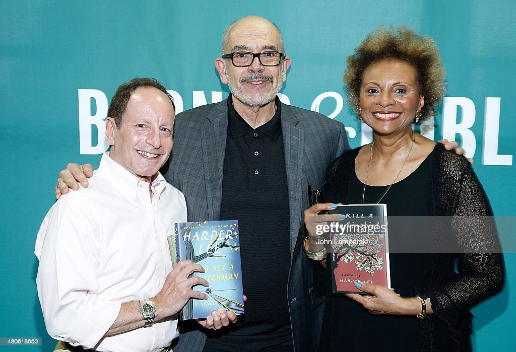 Bill Goldstein, Wally Lamb and Leslie Uggams attend Harper Lee celebration with Wally Lamb and Leslie Uggams in conversation with Bill Goldstein at Barnes & Noble Union Square on July 13, 2015 in New York City.