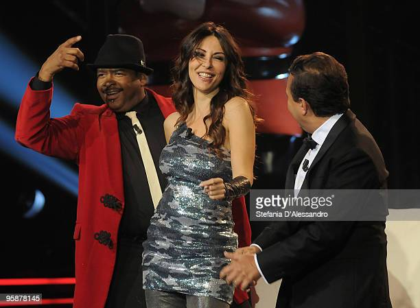 Bill Goodson Sabrina Ferilli and Piero Chiambretti attend 'Chiambretti Night' Italian TV Show on January 19 2010 in Milan Italy