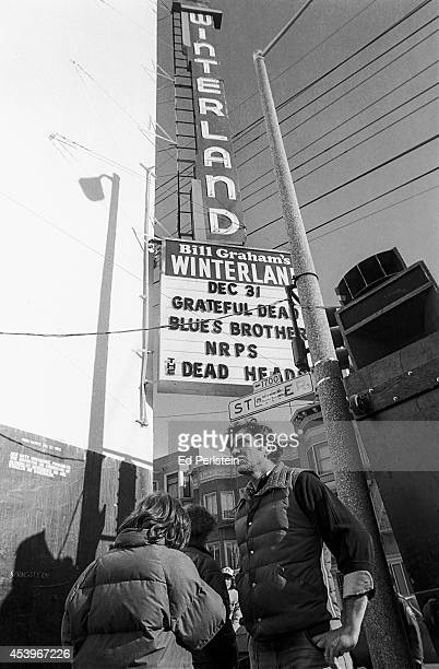 Bill Graham poses in front of the marquee on New Year's Eve 1978 for the final shows at Winterland with the Grateful Dead and the Blues Brothers in...