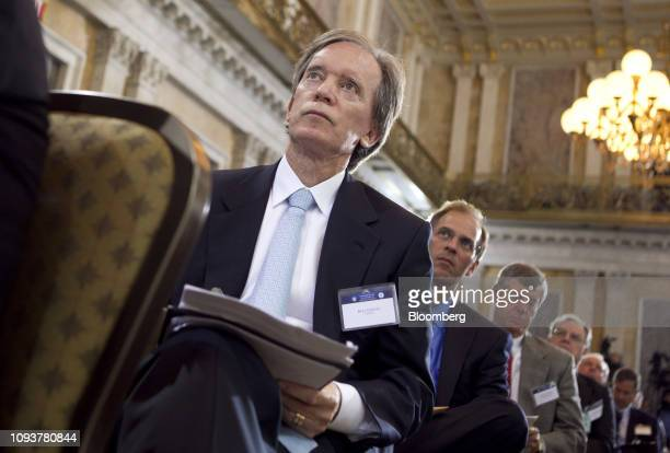 Bill Gross cochief investment officer of Pacific Investment Management Co listens during the Future of Housing Finance symposium at the Treasury...
