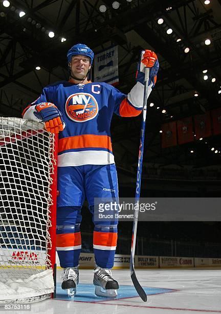 Bill Guerin of the New York Islanders models the New York Islanders third jersey on October 8 2008 at the Nassau Coliseum in Uniondale New York