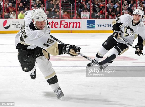 Bill Guerin of the Pittsburgh Penguins takes a slapshot against the Philadelphia Flyers on December 17 2009 at the Wachovia Center in Philadelphia...