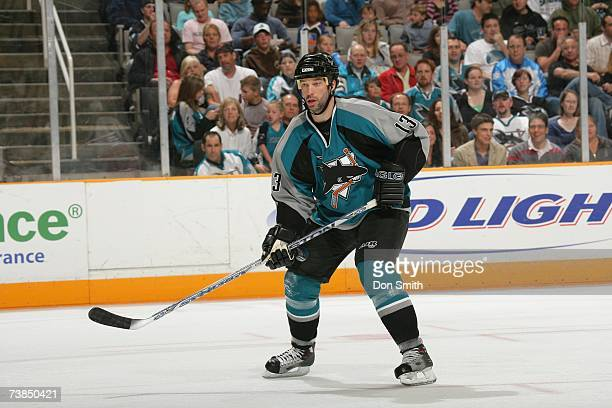 Bill Guerin of the San Jose Sharks skates against the Columbus Blue Jackets on March 16 2007 at the HP Pavilion in San Jose California The Sharks won...