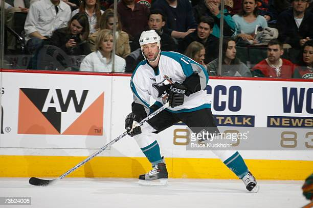 Bill Guerin of the San Jose Sharks skates against the Minnesota Wild during the game at Xcel Energy Center on March 6 2007 in Saint Paul Minnesota...
