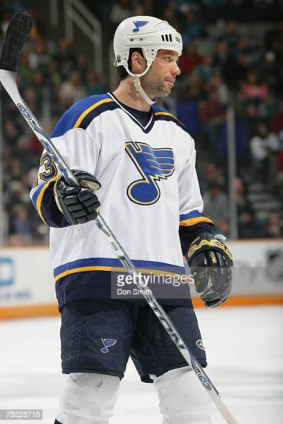 Bill Guerin of the St Louis Blues looks on during a game against the San Jose Sharks on January 20 2007 at the HP Pavilion in San Jose California The...