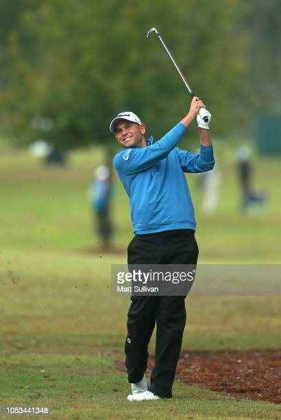 Bill Haas hits his second shot on the sixth hole during the first round of the Sanderson Farms Championship at the Country Club of Jackson on October...