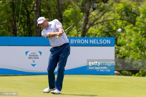 Bill Haas hits his tee shot on during the first round of the ATT Byron Nelson on May 9 2019 at Trinity Forest Golf Club in Dallas TX