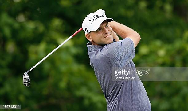 Bill Haas hits his tee shot on the 14th hole during the second round of the Memorial Tournament presented by Nationwide Insurance at Muirfield...