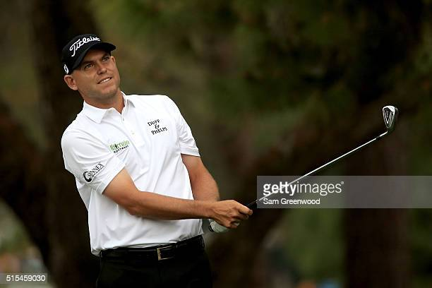 Bill Haas hits off the 13th tee during the final round of the Valspar Championship at Innisbrook Resort Copperhead Course on March 13 2016 in Palm...