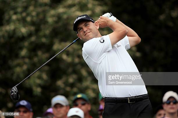 Bill Haas hits off the fifth tee during the final round of the Valspar Championship at Innisbrook Resort Copperhead Course on March 13 2016 in Palm...