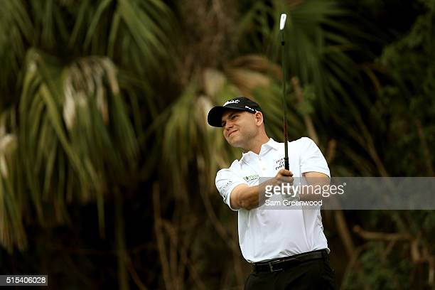 Bill Haas hits off the fourth tee during the final round of the Valspar Championship at Innisbrook Resort Copperhead Course on March 13 2016 in Palm...